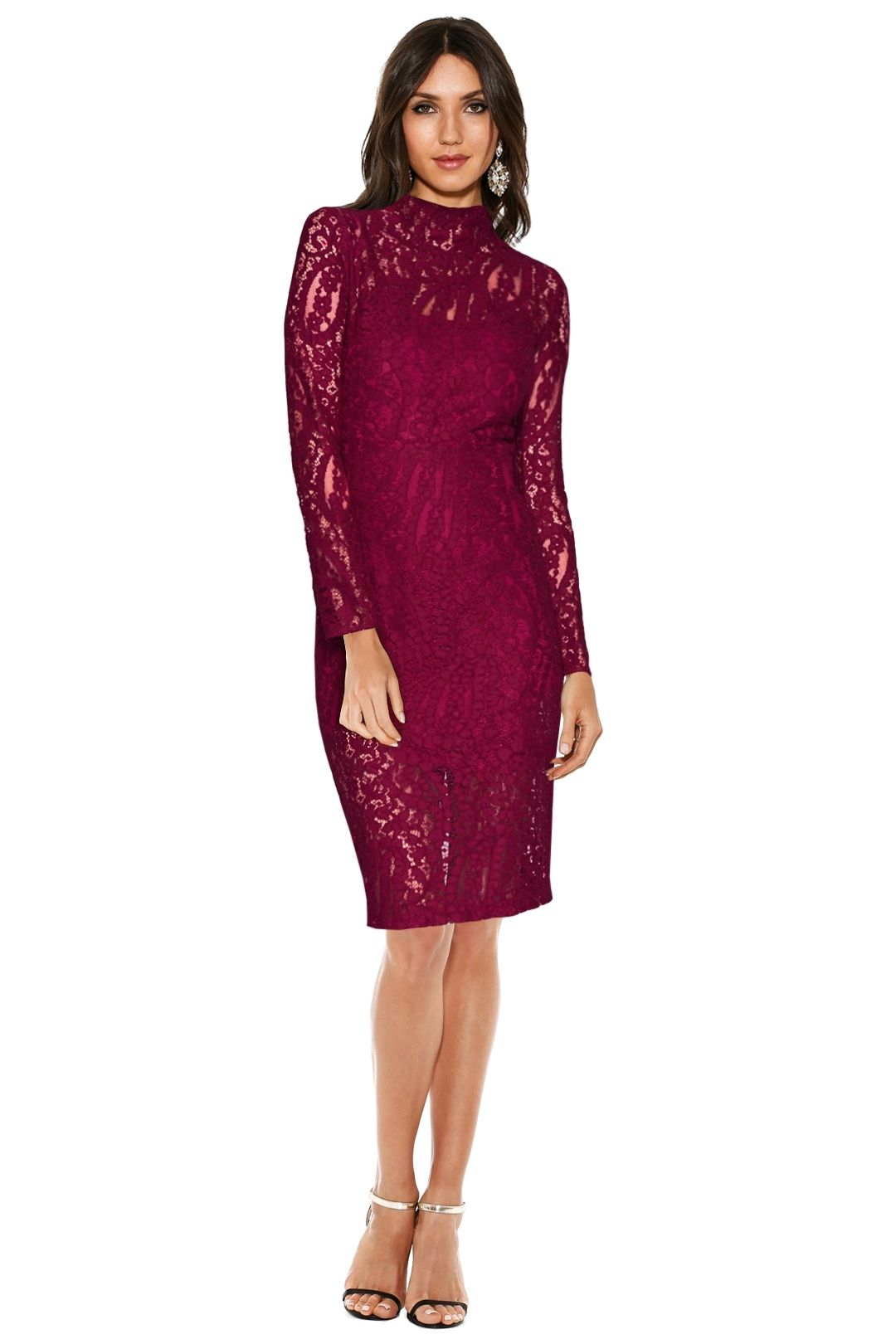 Rodeo Show - Thea Lace Dress - Fuchsia - Front