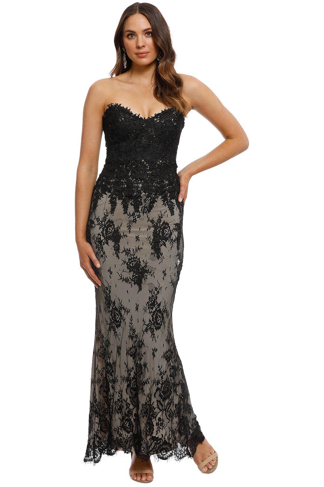 Rose Noir - Bella Lace Gown - Black Nude - Front