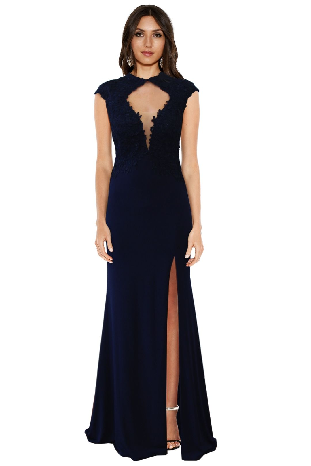 Rose Noir - Midnight Navy Lace Gown - Navy - Front