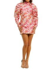 Rotate-By-Birger-Christensen-Puffed- Floral-Mini-Dress-Raspberry-Rose-Front