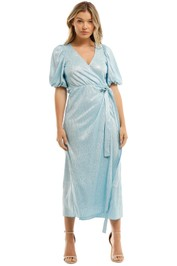 Rotate By Birger Christensen Metallic  Wrap Dress