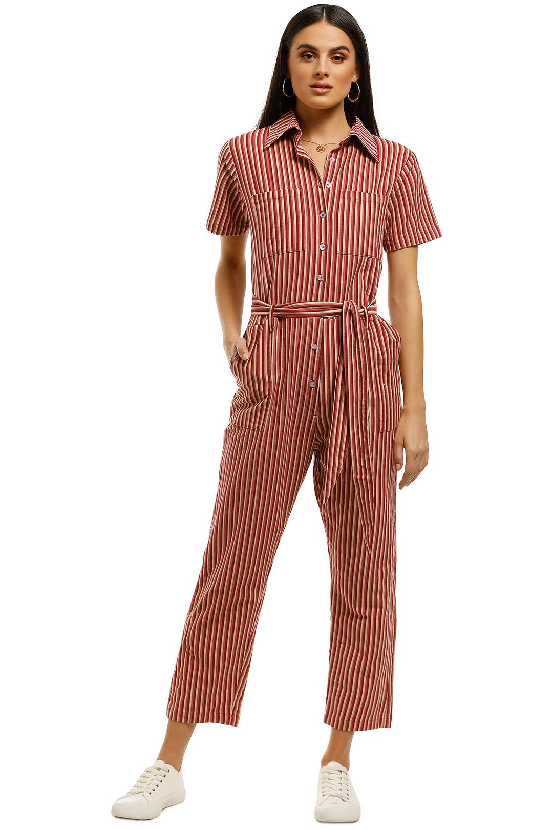 Rue-Stiic-Alamere-Worksuit-Wine-Stripe-Front