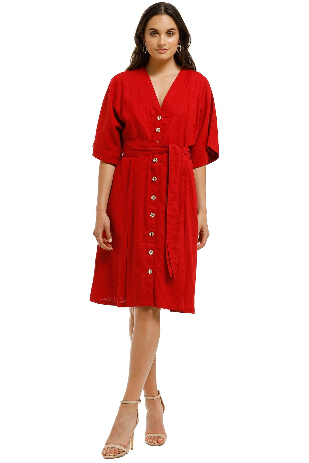 Rue-Stiic-Maverick-Midi-Dress-Warm-Red-Front