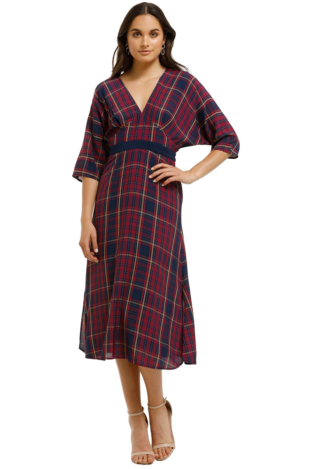 Saba-Meridian-Check-Midi-Dress-Multi-Front