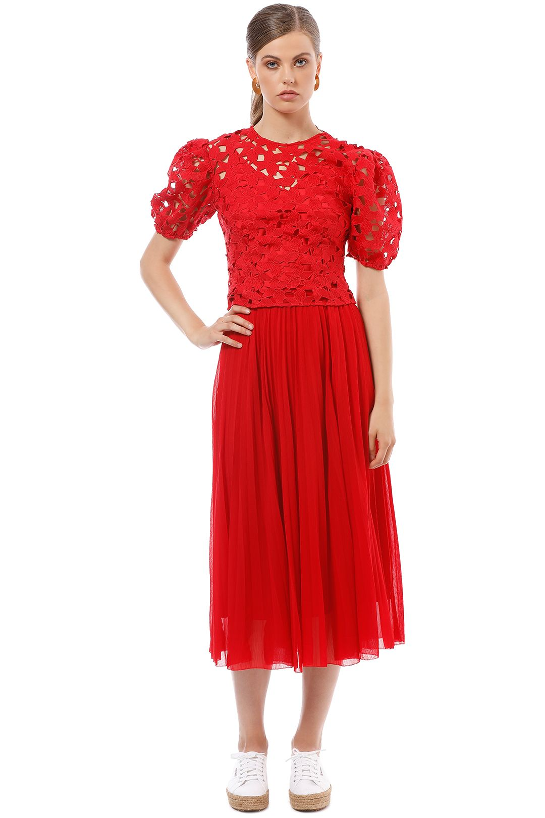 Saba - Cicely Midi Skirt - Red - Front