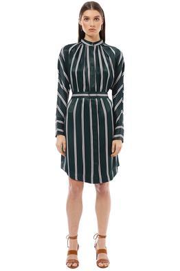 Saba - Ellis Stripe Dress - Green - Front