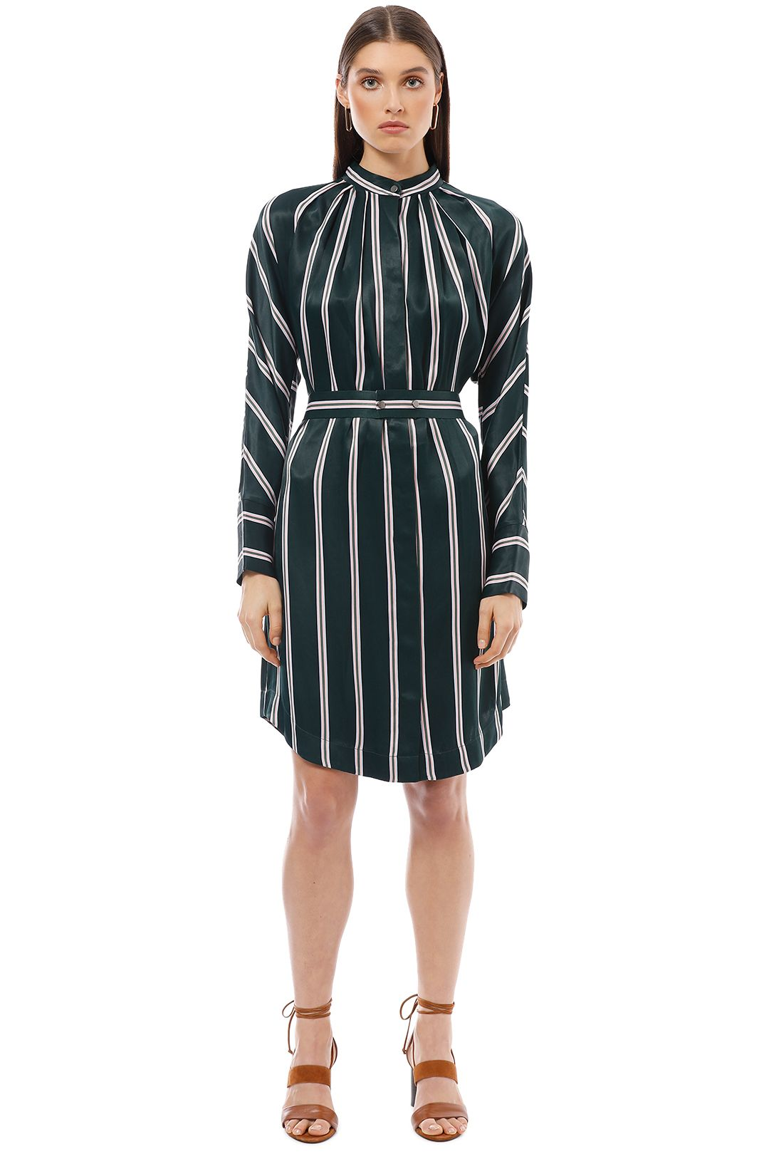 Saba - Ellis Stripe Dress - Green - Front