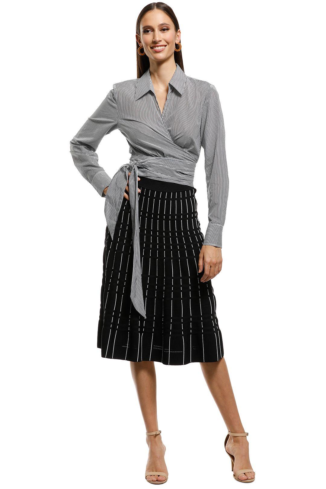 Saba - Lola Cotton Silk Wrap Top - BlackWhite - Front