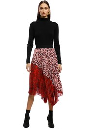 Saba - Minx Pleated Midi Skirt - Red - Front