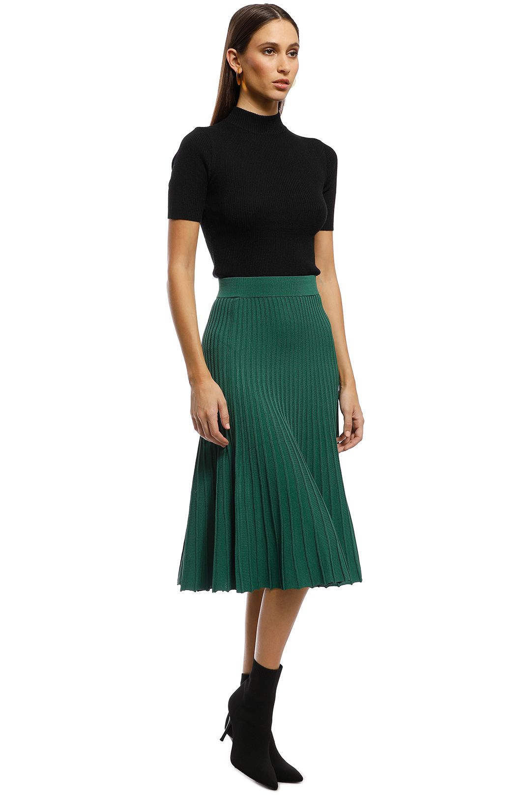 Saba - Ruby Rib Knit Skirt - Green - Side