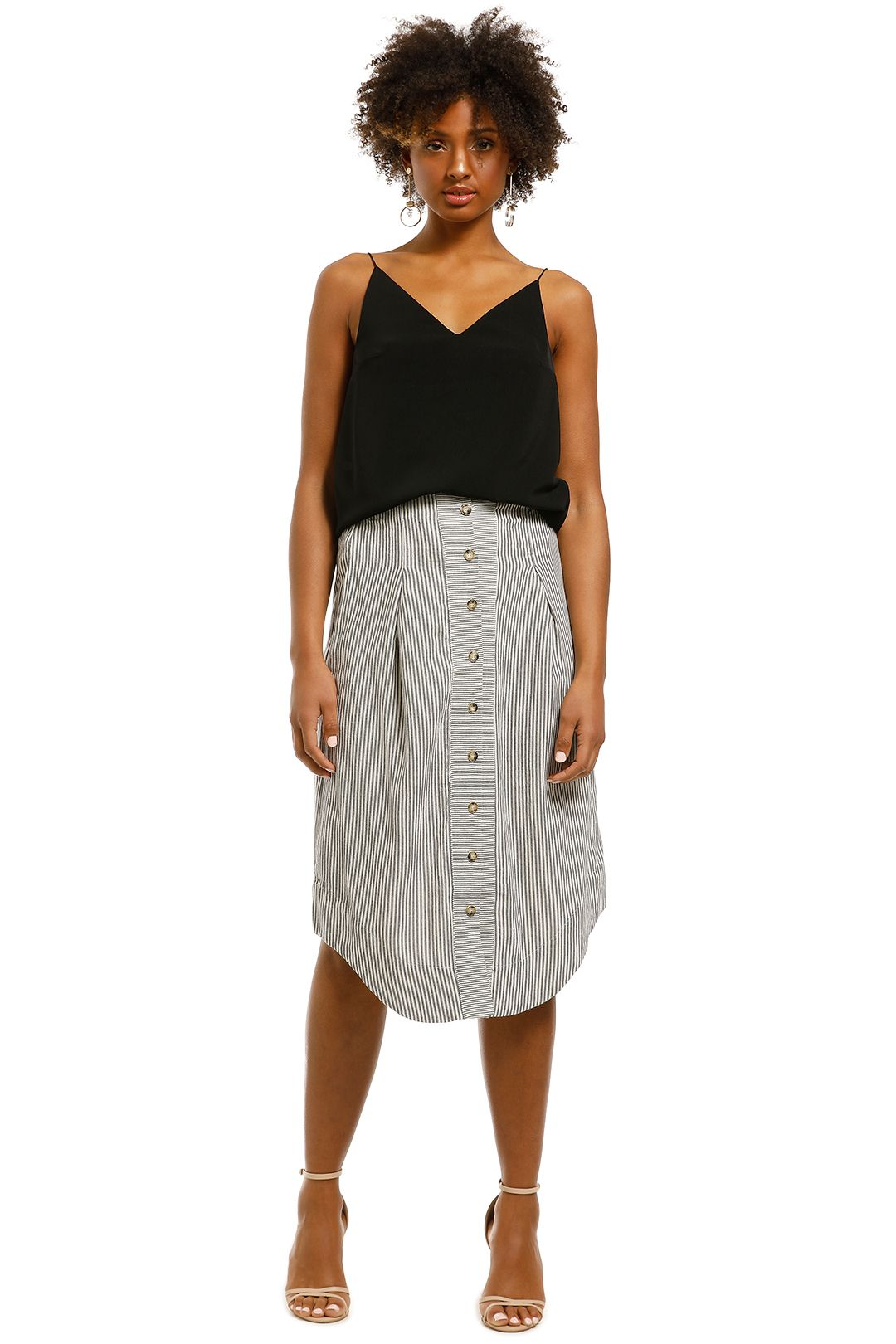 Saints-The-Label-Rowling-Skirt-Navy-Stripe-Front