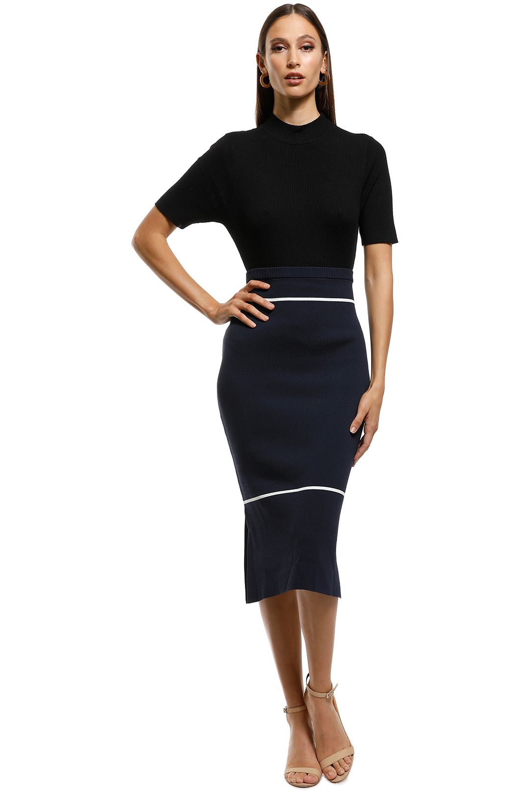 Saints The Label - California Milano Knit Skirt - Navy - Front