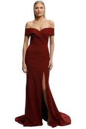 Samantha Rose-Gia Off Shoulder Gown-Wine-Front