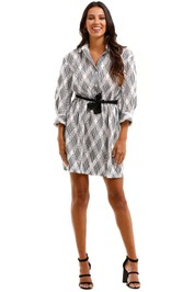 Sandro Celian Tie Front Crochet Twill Mini Shirt Dress Lace