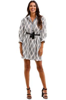 Sandro Celian Tie Front Crochet Twill Mini Shirt Dress Lace