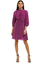 Scanlan-Theodore-Cdc-Reptile-Button-Shoulder-Dress-Purple-Snake-Front