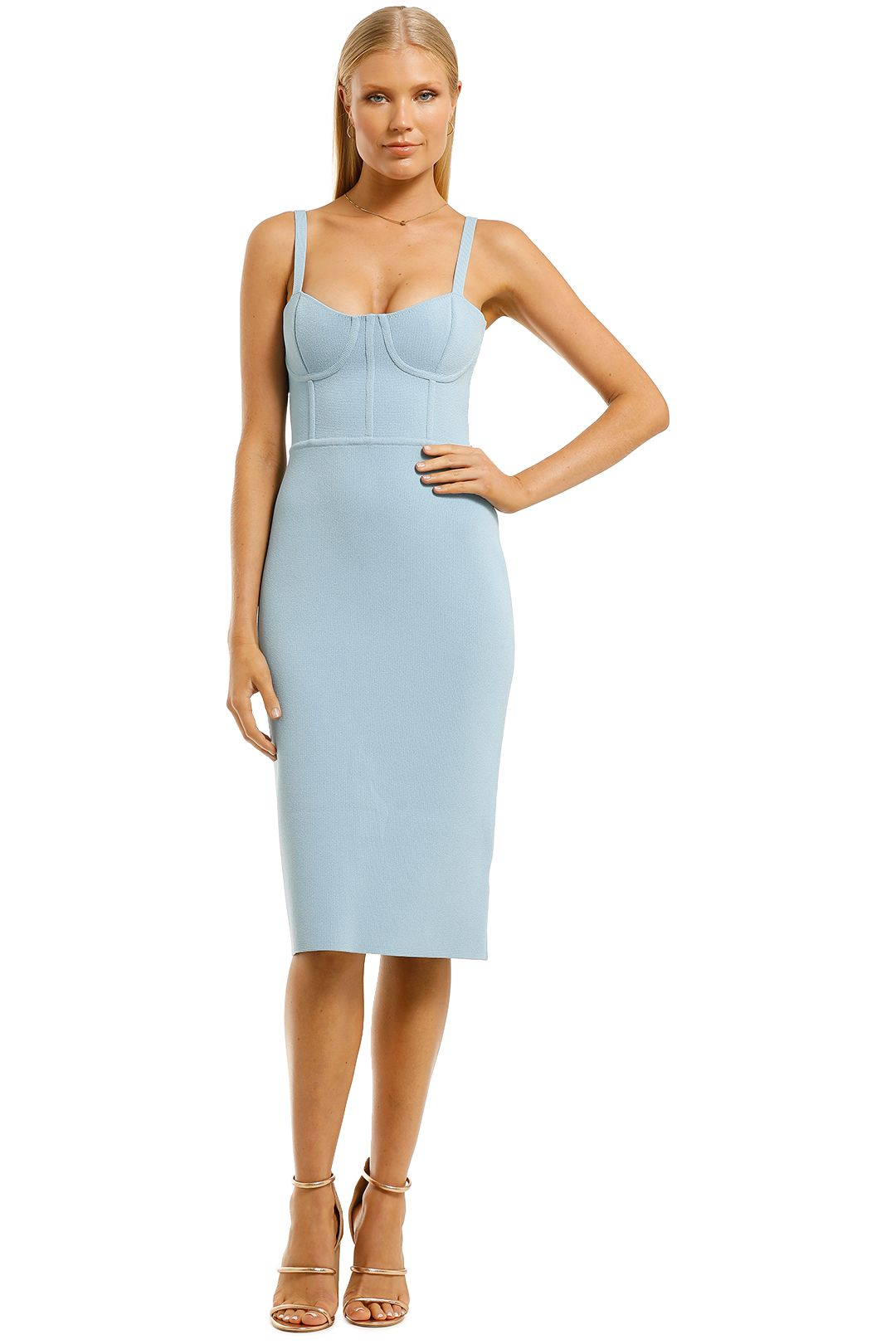 Scanlan-Theodore-Crepe-Knit-Bustier-Dress-Pale-Blue-Front