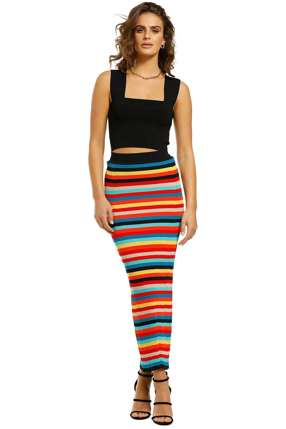 Scanlan-Theodore-Crepe-Knit-Stripe-Skirt-Rainbow-Front