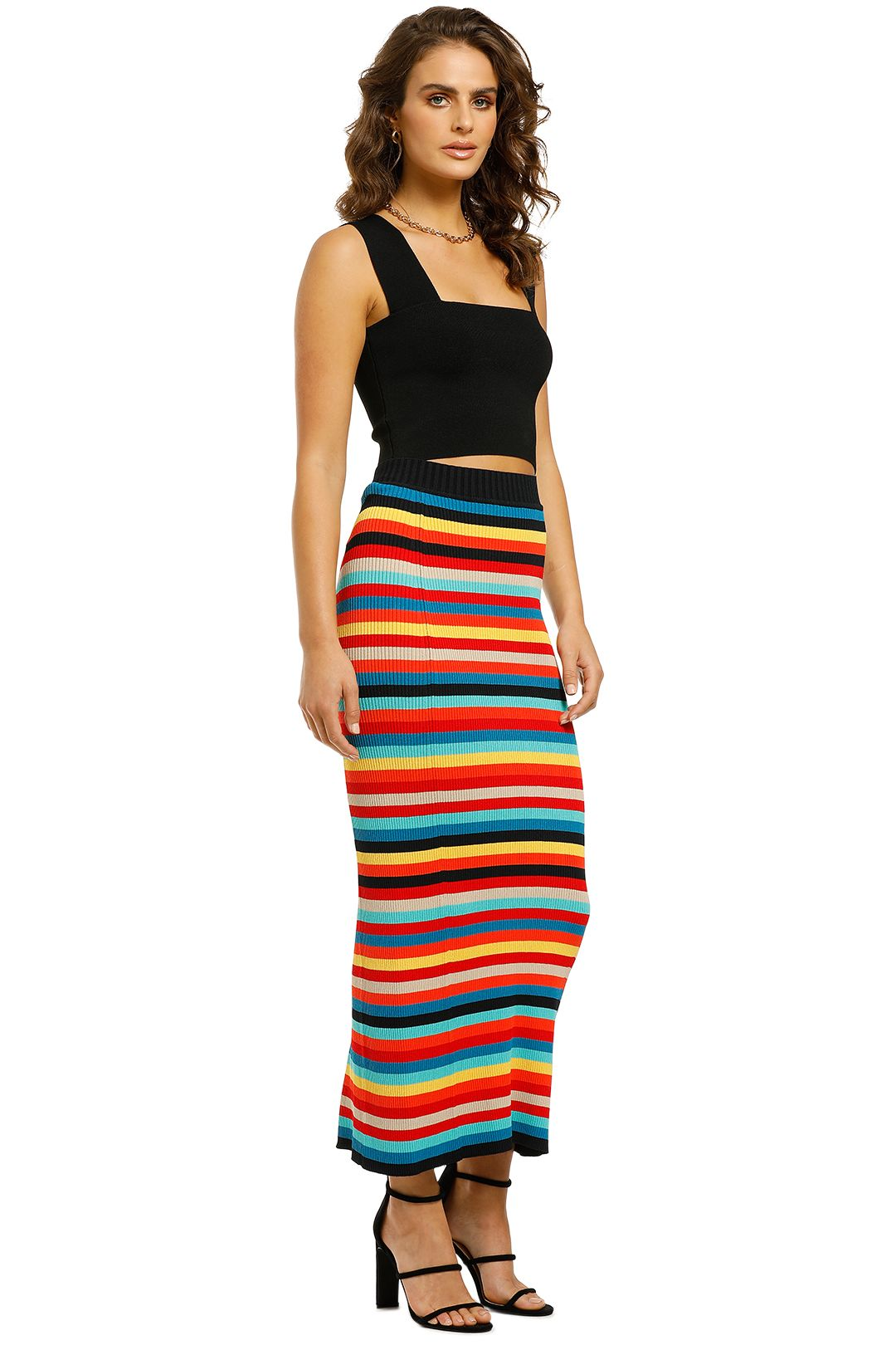 Scanlan-Theodore-Crepe-Knit-Stripe-Skirt-Rainbow-Side
