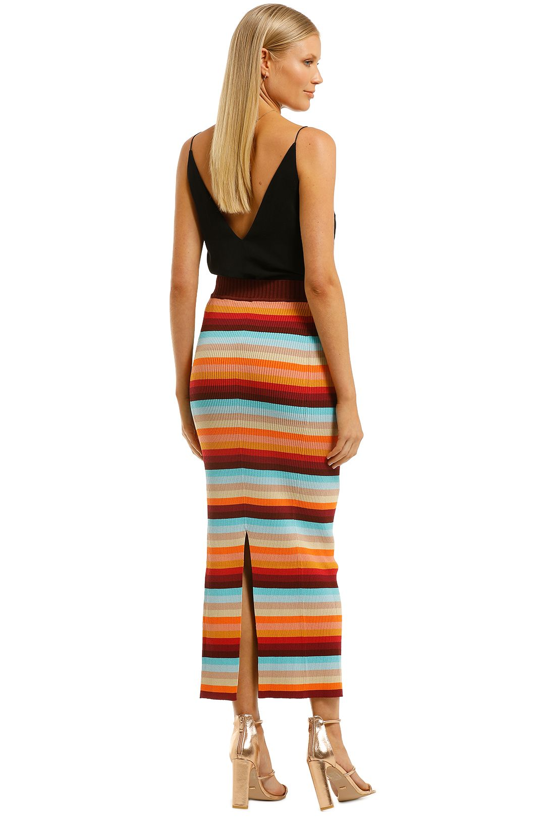Scanlan-Theodore-Crepe-Knit-Stripe-Skirt-Sunset-Back