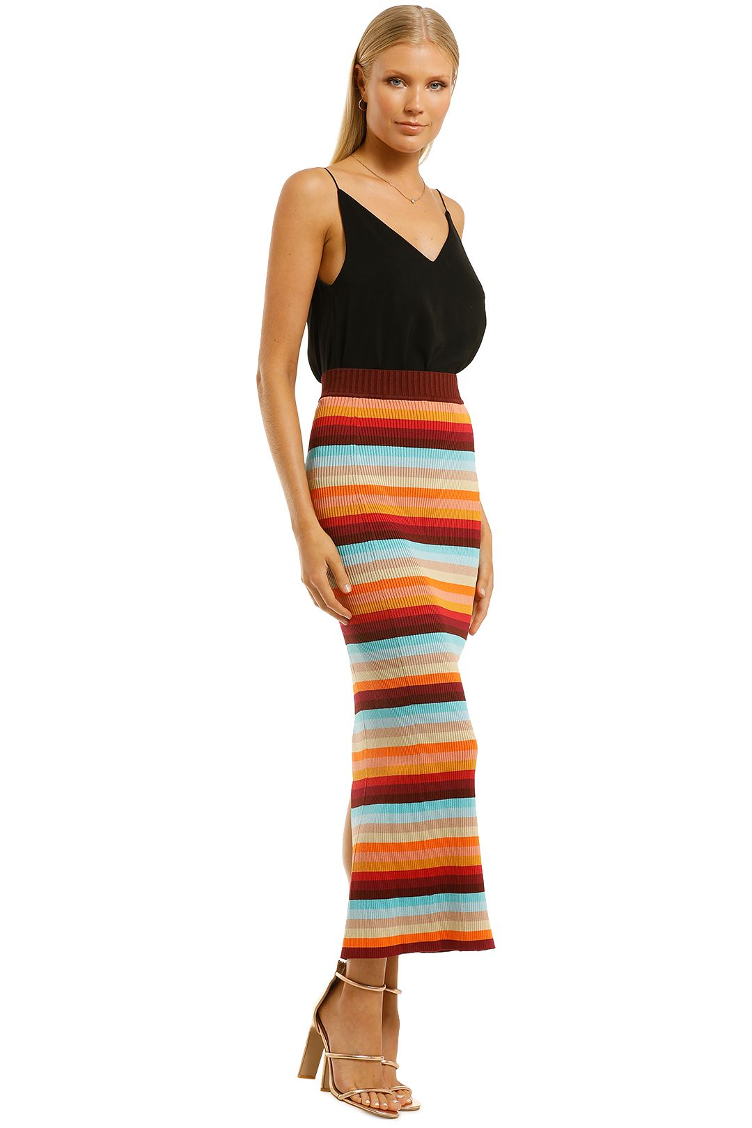 Scanlan-Theodore-Crepe-Knit-Stripe-Skirt-Sunset-Side