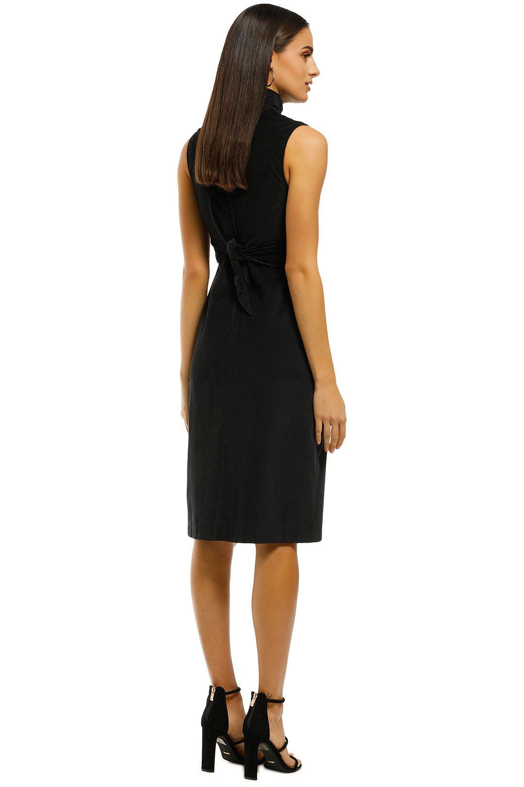 Scanlan-Theodore-Hounstooth-Velvet-Pencil-Dress-Black-Back