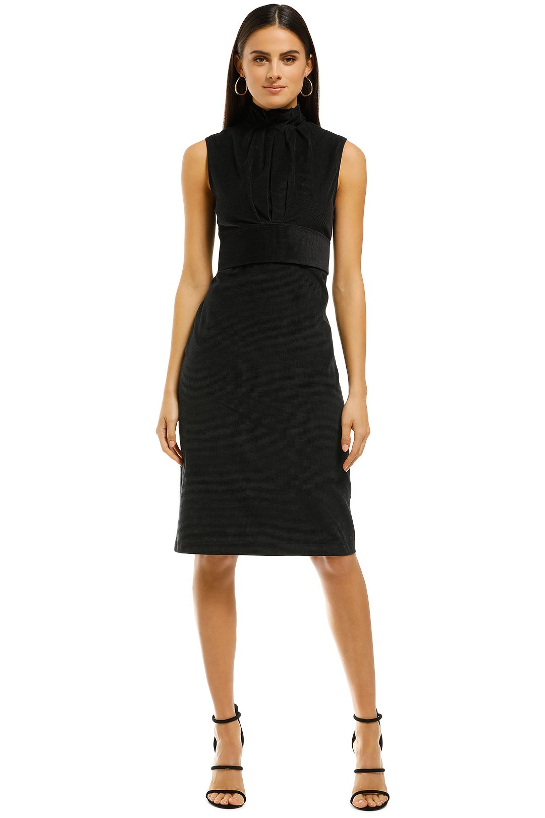 Scanlan-Theodore-Hounstooth-Velvet-Pencil-Dress-Black-Front