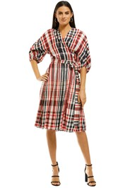 Scanlan-Theodore-Plaid-Cocoon-Sleeve-Dress-Front