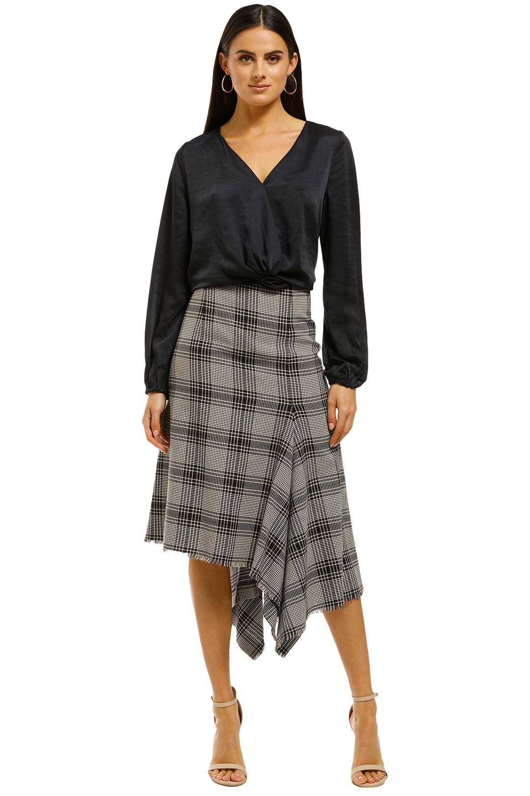 Scanlan-Theodore-Plaid-Draped-Hem-Skirt-Print-Front