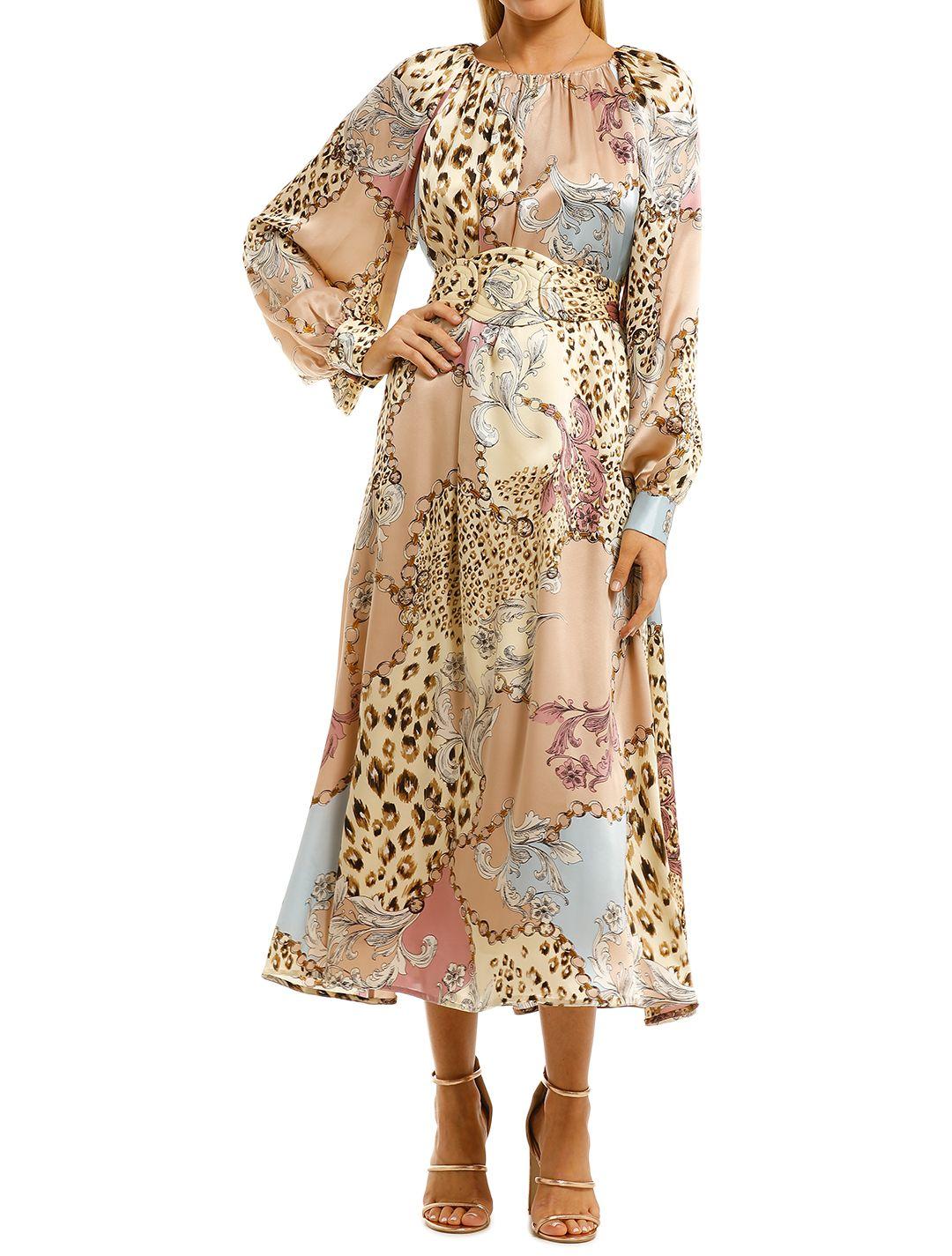 Scanlan-Theodore-Silk-Animal-Chain-Print-Dress-Front