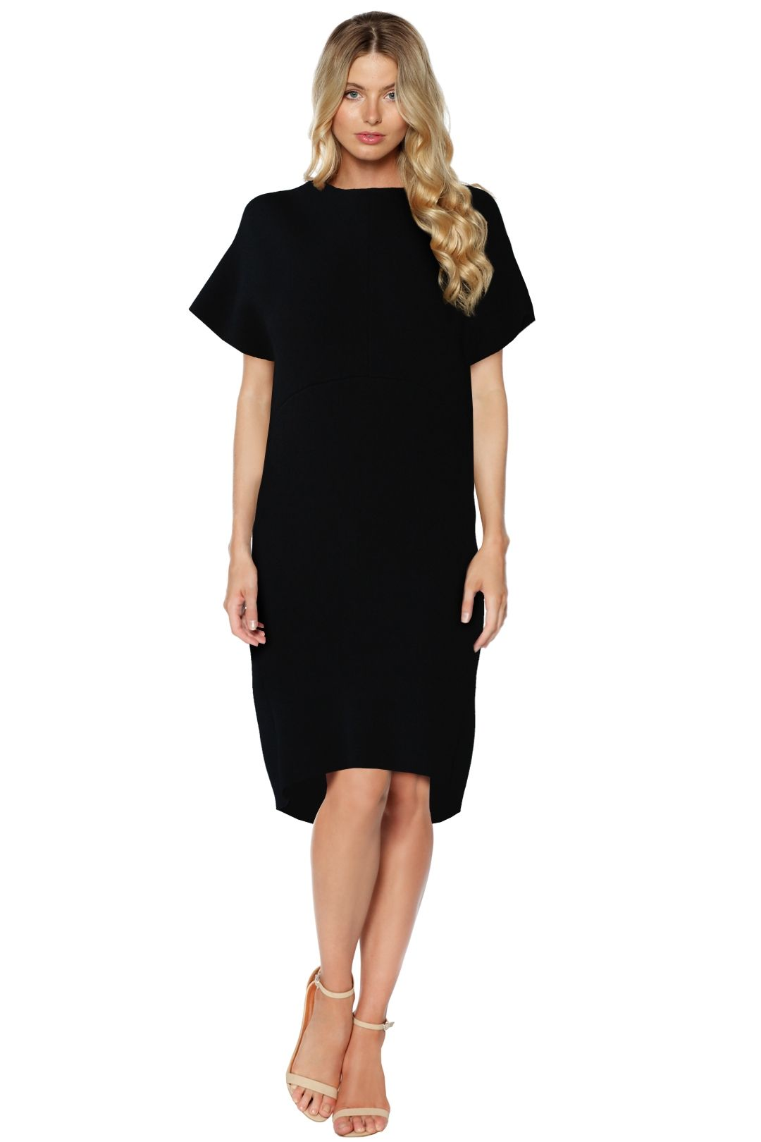 Scanlan Theodore - Black Crepe Knit Cocoon Dress - Black - Front
