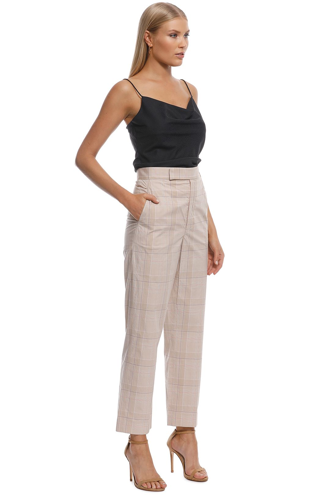 Scanlan Theodore - Check Slim Fit Trouser - Frappe - Side