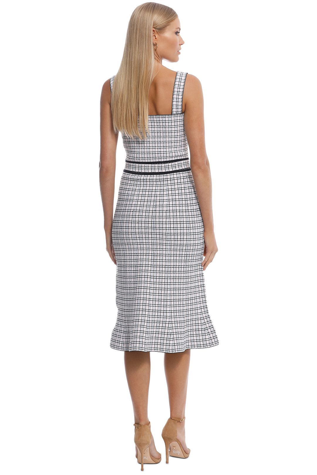 Scanlan Theodore - Crepe Knit Plaid Bralette Dress - Pale Pink - Back