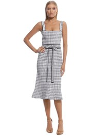 Scanlan Theodore - Crepe Knit Plaid Bralette Dress - Pale Pink - Front
