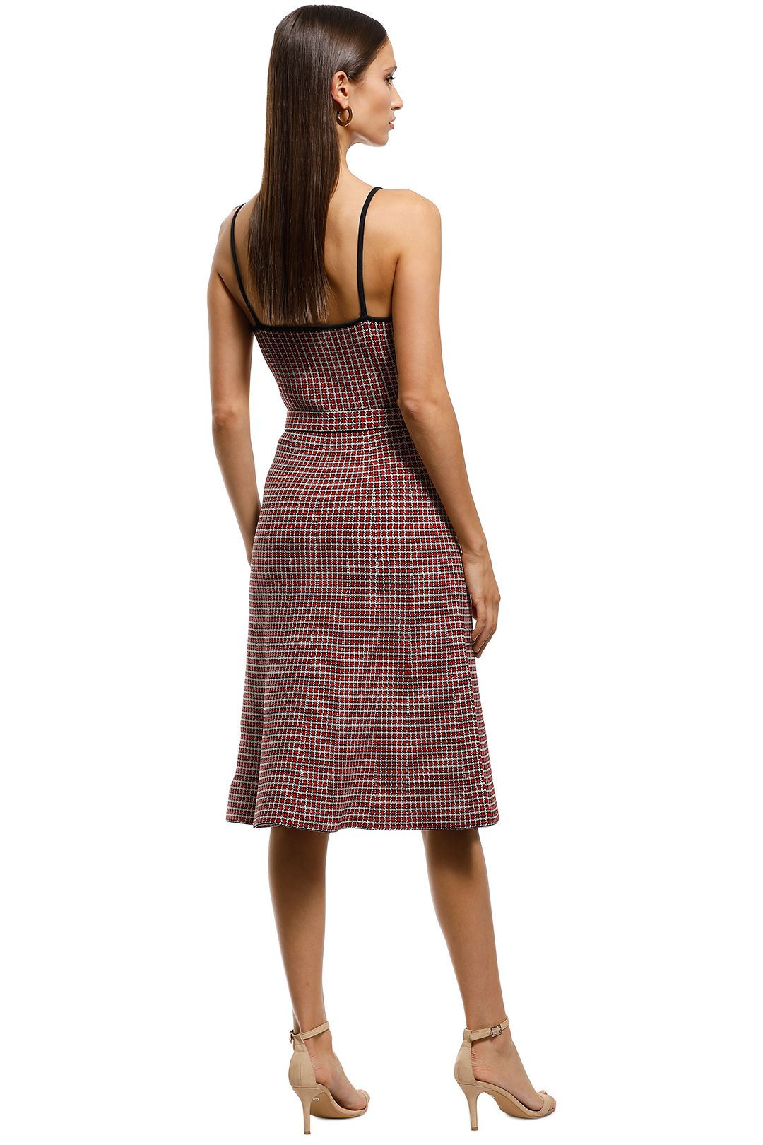 Scanlan Theodore - Crepe Knit Plaid Dress - Red - Back
