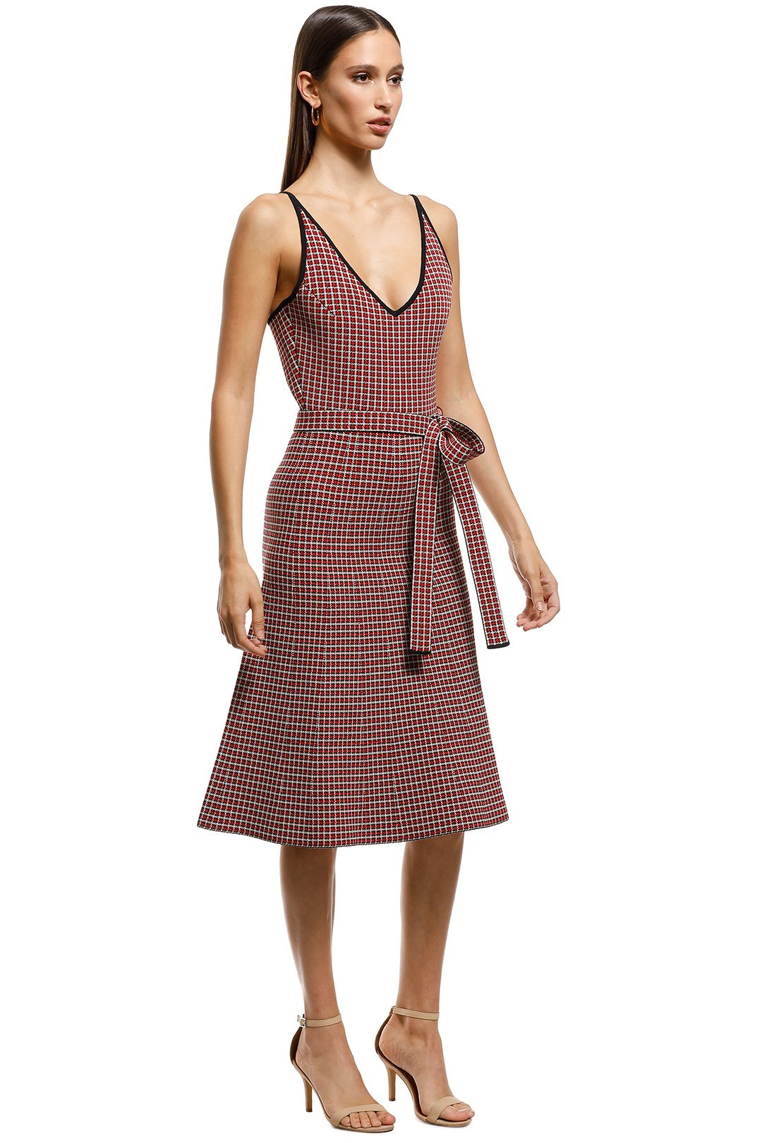 Scanlan Theodore - Crepe Knit Plaid Dress - Red - Side