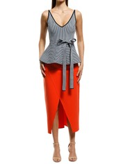 Scanlan Theodore - Crepe Knit Plaid Strappy Top - Blue - Front