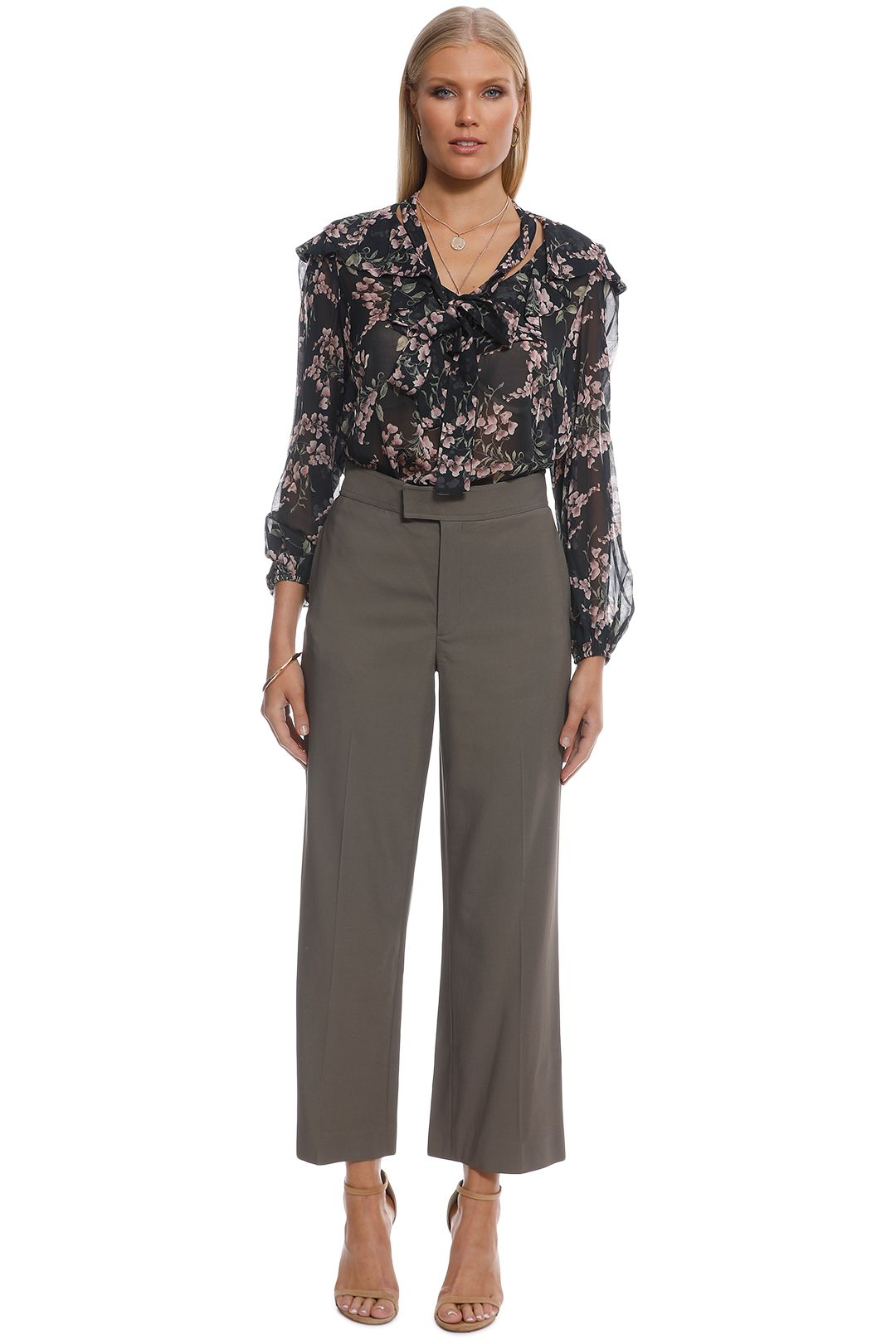 Scanlan Theodore - Crepe Tailored Trouser - Taupe - Front