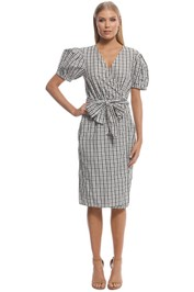 Scanlan Theodore - Gingham Wrap Front Dress - White - Front
