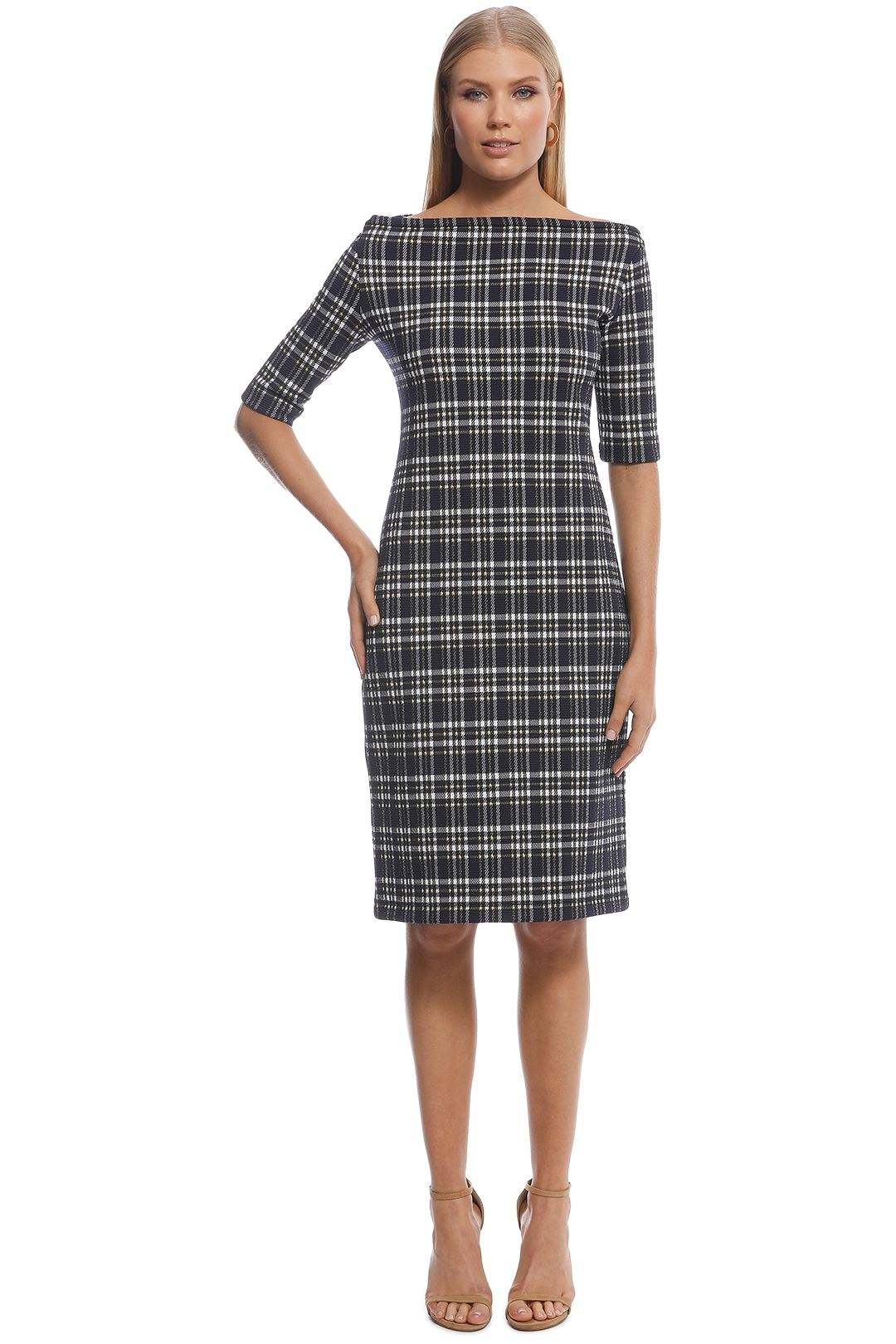 Scanlan Theodore - Plaid Boat Neck Dress - Navy Yellow - Front