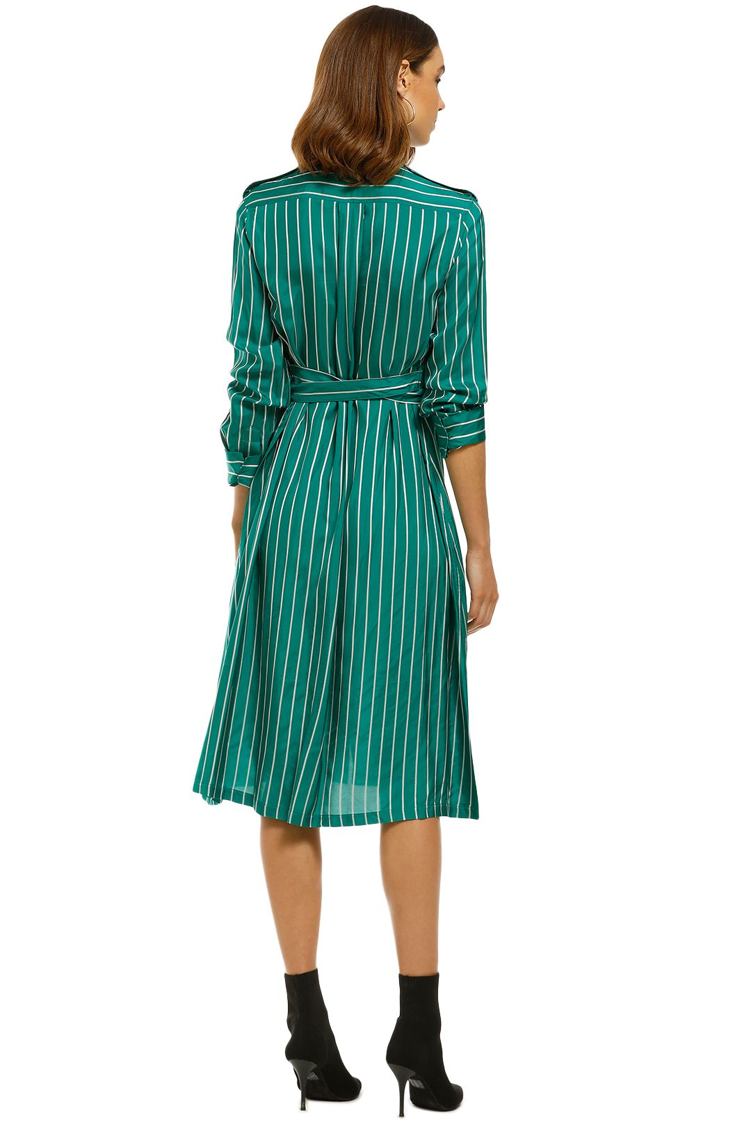 Scanlan Theodore - Stripe Shirt Dress - Emerald - Back