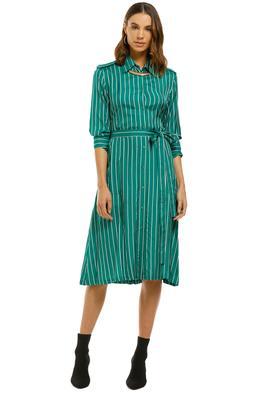 Scanlan Theodore - Stripe Shirt Dress - Emerald - Front
