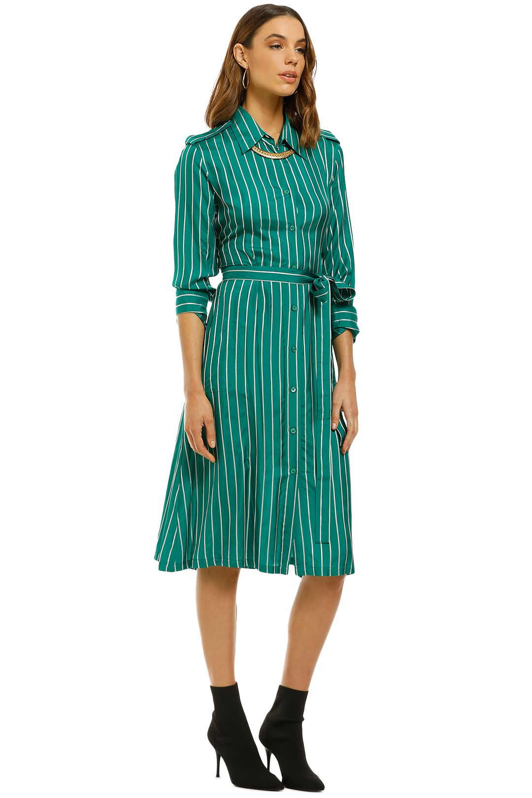 Scanlan Theodore - Stripe Shirt Dress - Emerald - Side