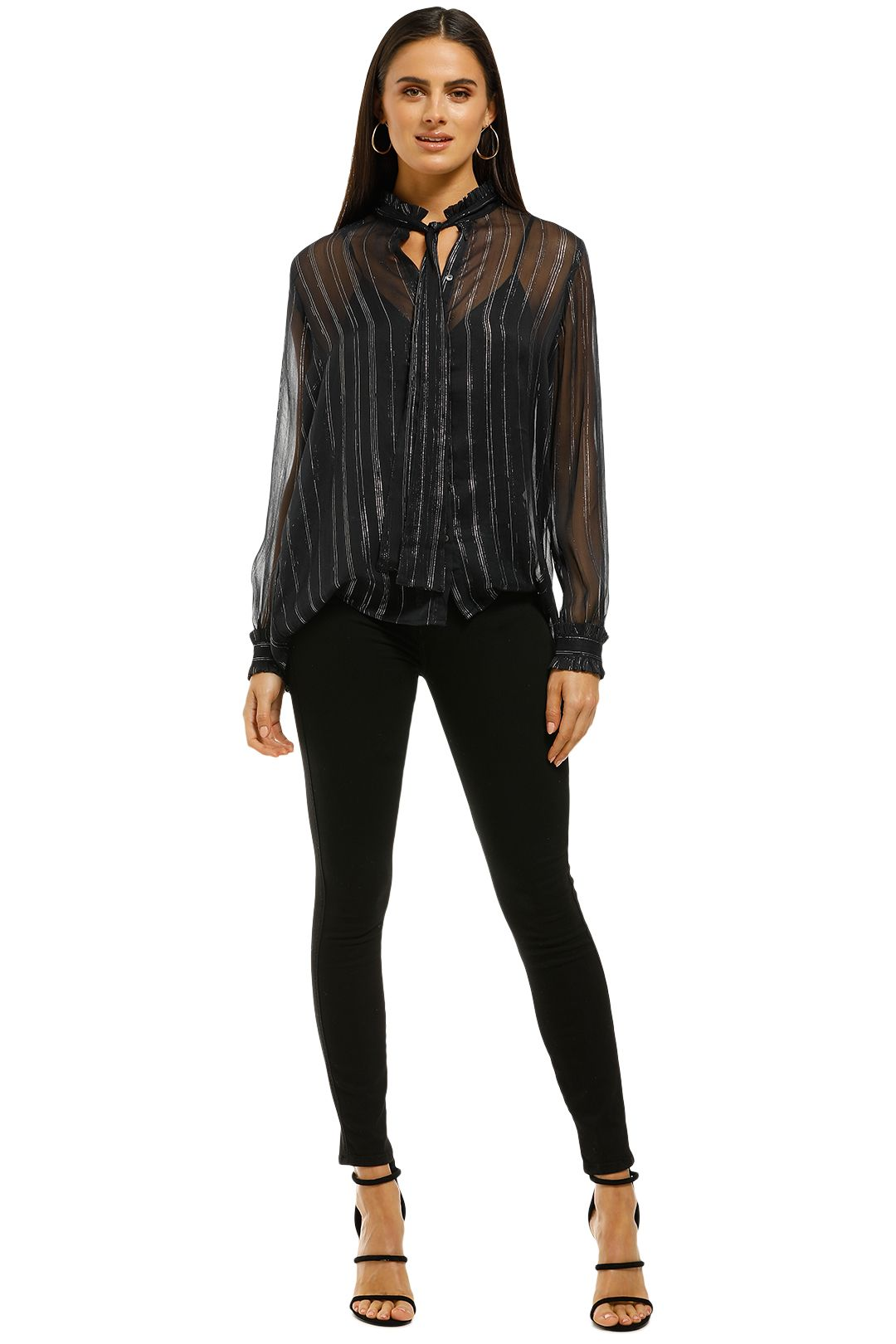 Scotch and Soda - Lurex Ruffle Bow Blouse - Black - Front