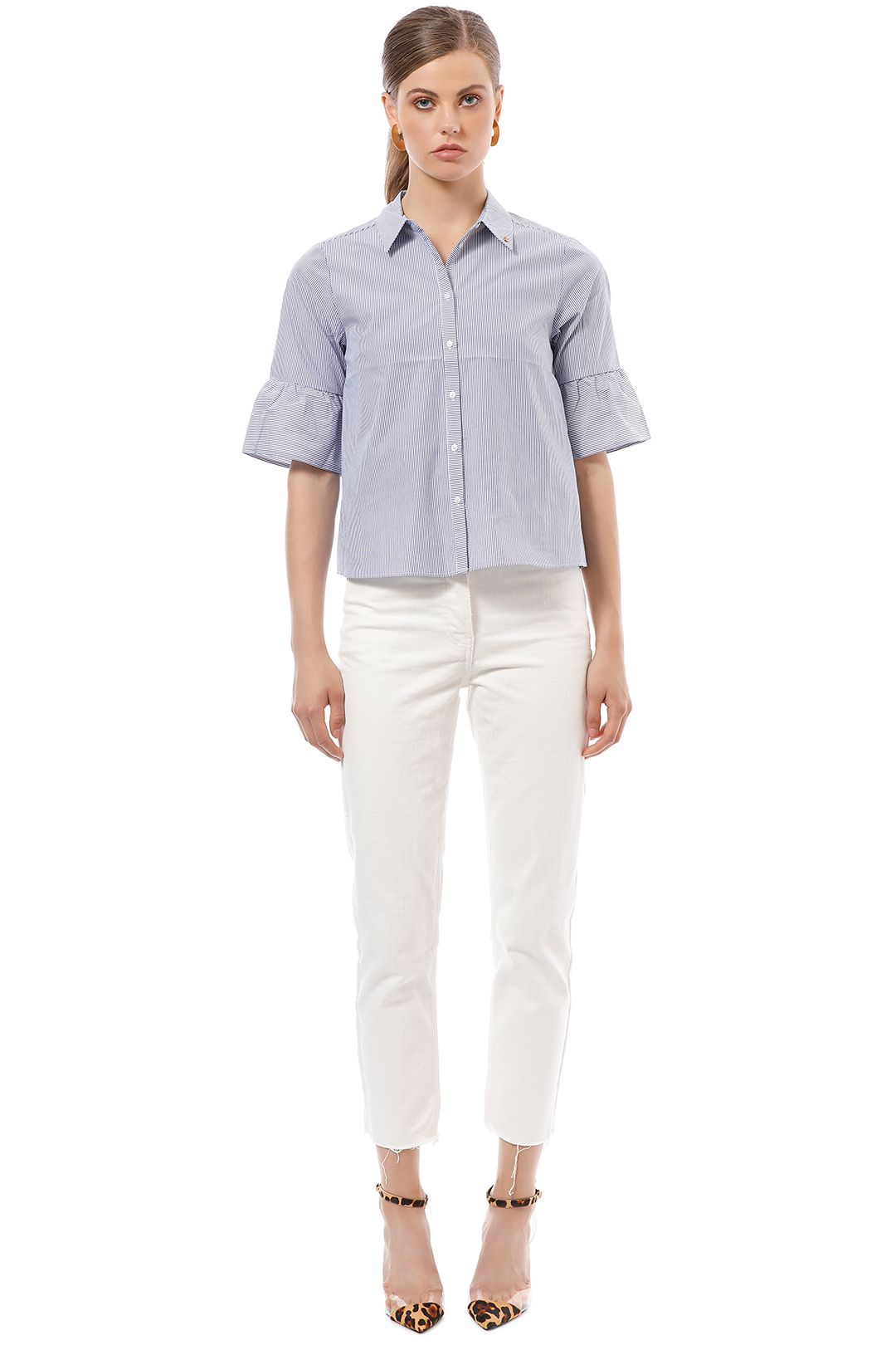 Scotch & Soda - Special Sleeve Ruffle Shirt - Stripe - Front