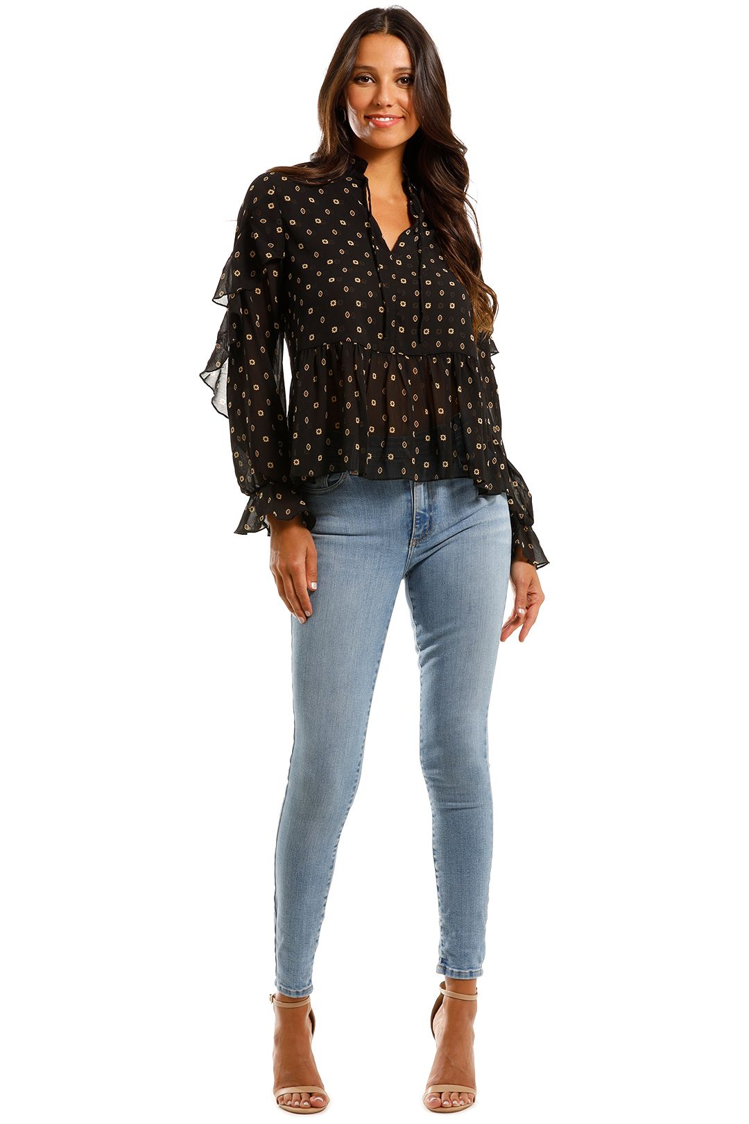 Scotch & Soda Sheer Printed Top With Ruffles Sheer Sleeves