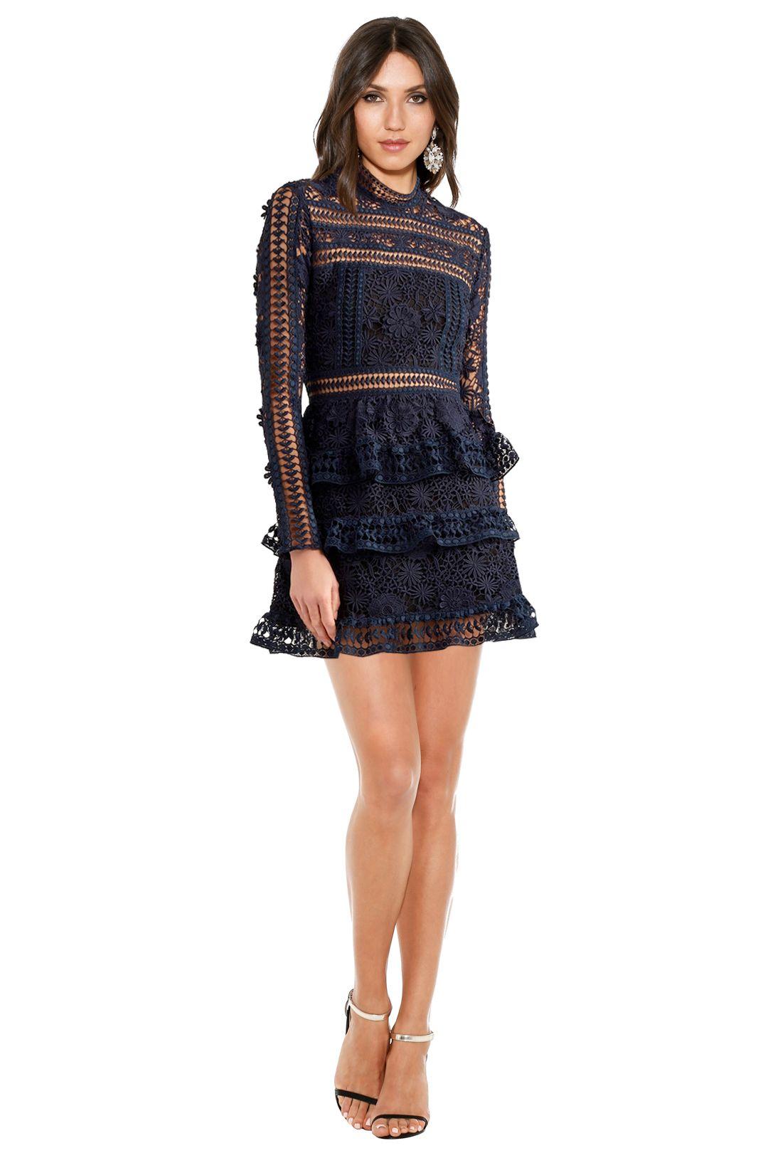 Self-Portrait - Ava Guipure Lace Mini Dress - Navy - Front
