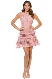 Self-Portrait - Cross Hatch Frill Mini Dress - Pink - Front