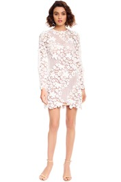 Self Portrait - 3D Floral Mini Dress - White - Front