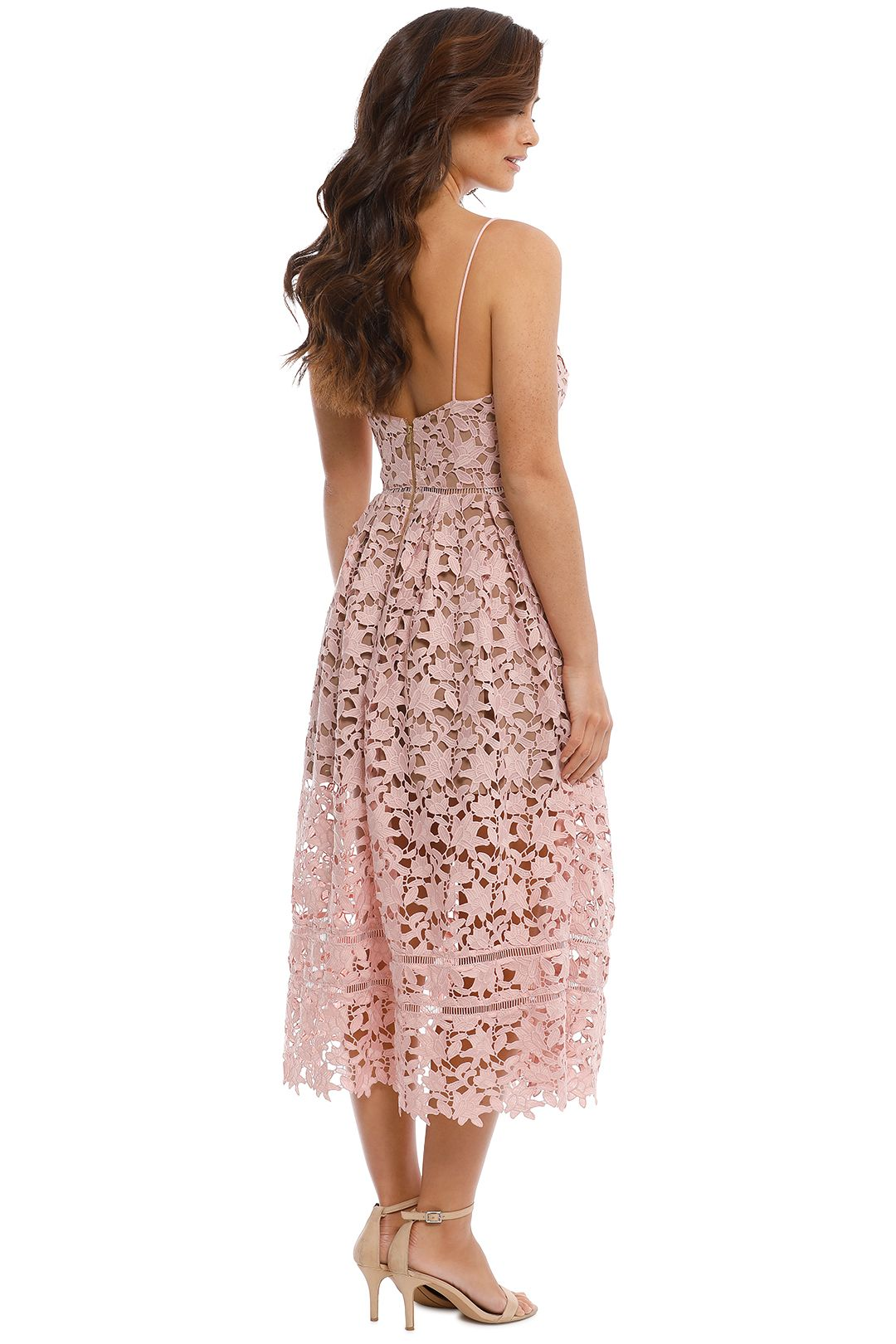 Self Portrait - Azaelea Lace Midi Dress - Pale Pink - Back
